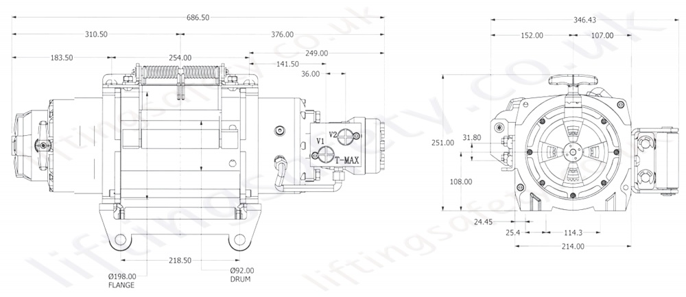 Chw9000 Recovery Winch Dimensions