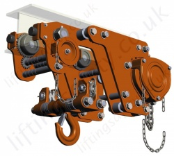 Tiger Ultra Low Headroom Chain Hoist with Integrated Geared Trolley - Range from 1000kg to 12,000kg