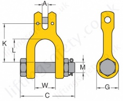 Grade 8 Clevis Shackle Dimensions