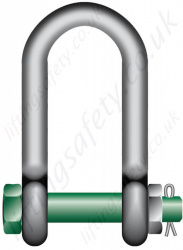 Green Pin G-4553 Wide Jaw Bolt Type Dee Shackle - Range from 4.6 tonne to 15.5 tonne