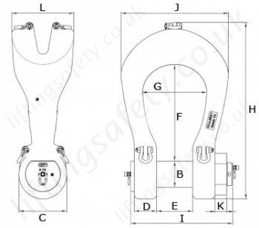 P6043 Green Pin Power Sling Shackle Dimensions