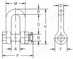 Crosby 2150 Shackle Dimensions