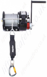 Ridgegear RGR7 Hand Operated Wire Rope Man-riding Rescue Winch 140kg, Wire Rope Length Options 15m or 50m