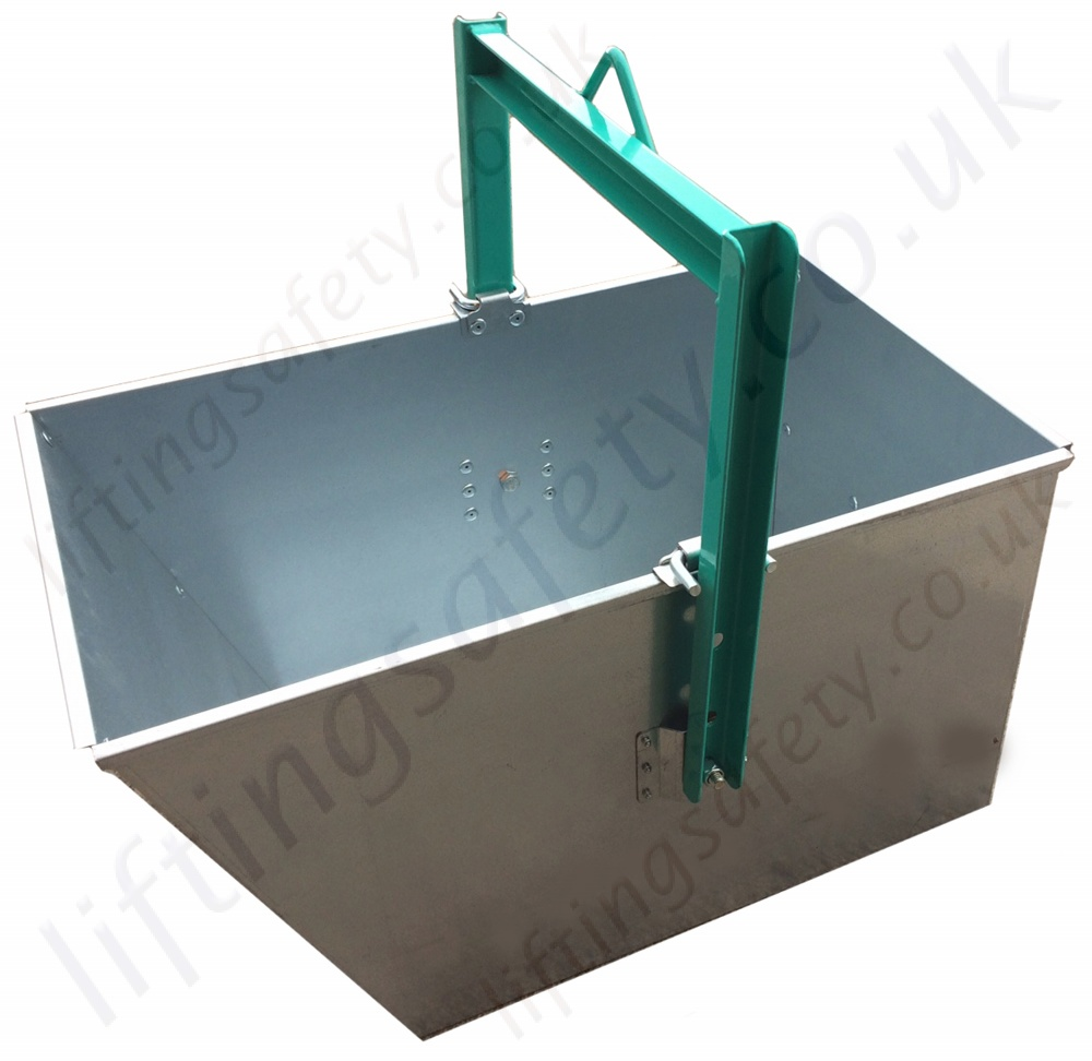 Tractor Bucket Hoist : Wedge shaped lifting bucket hoist mounted from litre