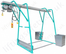 Imer ET300N Free Standing Gantry Wire Rope Hoist, 230 or 110v, 30m Working Height - 300kg Capacity
