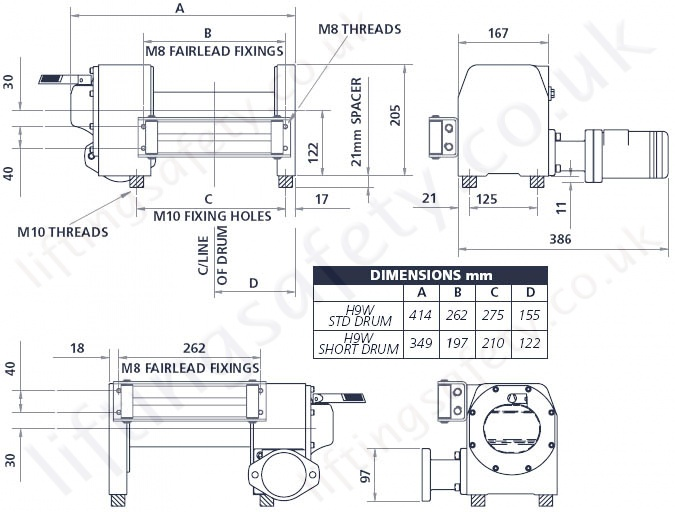 Hydraulic superwinch h9w specifications