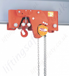 Hadef 29/12 HH Ultra Low Headroom Manual Chain Hoist with Geared Travel Trolley, Range from 1,000kg to 30,000kg