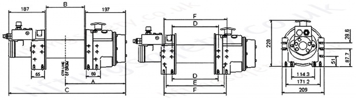 WMH8P / WMH10P hydraulic recovery winch dimensions