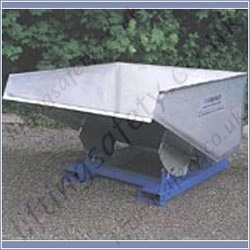 Semi Stainless Steel Fork Truck Mounted Roll Forward Skip Fork Truck Attachments. 250 Litres to 2000 Litres - 1000kg to 1500kg