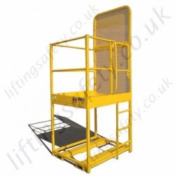 "Fork Truck Mounted ""Raised Platform"" Access Basket. 500 to 1000mm Lift. 3 Gate Options - 1 or 2 Person Options"