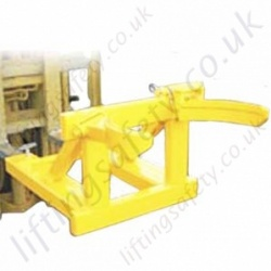 "Fork Lift Truck Mounted ""Raised"" Automatic Drum Grab to Lift 1 or 2 Drums - 500kg or 1000kg"