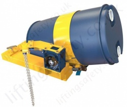 Fork Lift Truck Low Profile 210 Litre Drum Rotator. Suitable for Pouring Liquids. Rotation Types: Loop Chain, Crank Handle or Hydraulic- 360kg Capacity