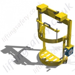 210L Universal Fork truck Mounted (and crane slung) Drum Rotator. Rotation by Crank Handle or by Loop Chain - 360kg
