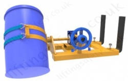 Fork Lift Truck Mounted Sideways Drum Rotator, Single Drum. Rotation Types: Loop Chain, Crank Handle or Hydraulics - 360kg