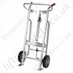 Drum Handling Truck. Manually Manoeuvred, Floor Operated. Lightweight Aluminium Frame. Options with 2 or 4 Wheels and with Brakes.  - 450kg Capacity