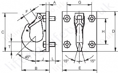 Excavator hook technical drawing for model 6 to 16