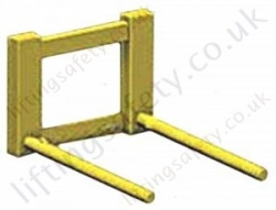 Fork Lift Truck Carriage Mounted Paper Reel Lifting Tines. 70mm Diameter Pins - 1000kg