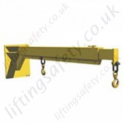 Fork Lift Truck Carriage Mounted Manual Telescopic Extending Jib Attachment - Range From 210kg to 4000kg