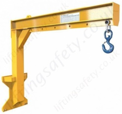 Carriage Mounted Fixed Length High Lift Jib Attachment. Hook Position Adjustable