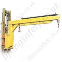 Carriage Mounted High Lift Fork Jib. Arm Telescopic By Hydraulic Ram - Range From 210kg to 4000kg