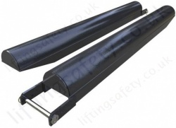 """Radius"" (Round Top) Fork Lift Truck Tine Extensions with ""Open Base"" - Range from 1200mm to 1500mm"