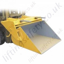 "Manual Lever Action Tipping ""Easyfill Scoop"" Fork Lift Truck Attachment. Materials Lifting Bucket. 200 Litre to 500 Litres - Range from 1250kg to 1750kg"