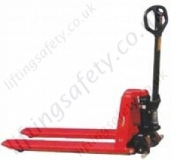 High lift pallet truck in raised position