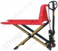 High lift pallet truck in lowered position