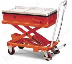 Economy Scissor Lift and Transfer Table. Semi-countersunk ball bearings - 1000kg Lifting Capacities, 1150mm Lifting Height