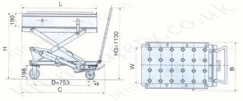 Economy Scissor Lift and Transfer Table  Semi-countersunk ball