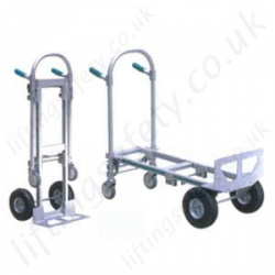 LiftingSafety Two Position Aluminium Sack Truck - 300kg - 185 x 456mm Shoe - 1300mm Height