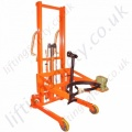 Trolley Truck Mounted Manually Manoeuvred Floor Operated Hydraulic Drum Rotator. Lift Height 1350mm to the Base of the vertical Drum - 350kg