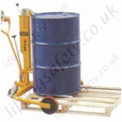 Economy Manually Manoeuvred Floor Operated Hydraulic Pallet Straddle Leg Drum Truck with Rim Grip Lifting Action - 250kg Capacity