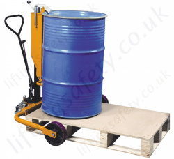 Manually Operated Hydraulic Pallet Drum Truck with Rim Grip Lifting Action, 250kg Capacity