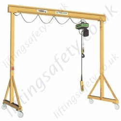 Lightweight 'C' Profile Mobile Lifting Gantry (light duty) with 500kg to 2000kg Capacities