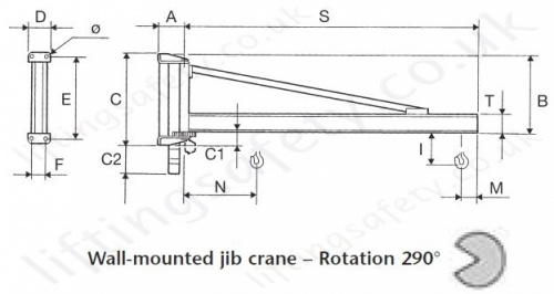 Mbe Power Slew Jib Crane Dimensions